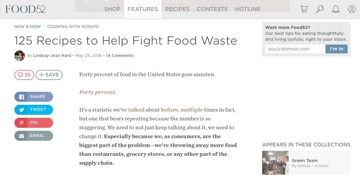 Food 52 website